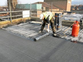 The roofing felt is applied by a heat gun. This work carries a material and labour guarantee of between 10-20 years pending chosen application.