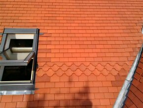 Clay Rosemary Type roof tiles with sky lights