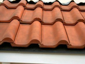 Clay tiles on roof of hotel.