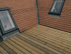 Roof garden. Velux type sky lights